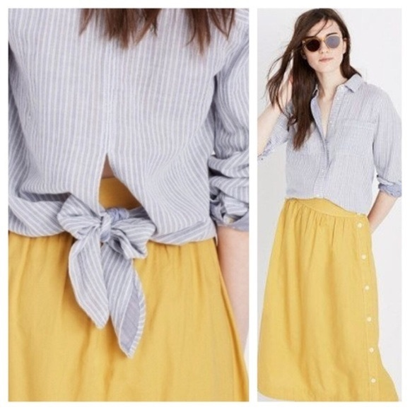 Madewell blue striped button down tie back top